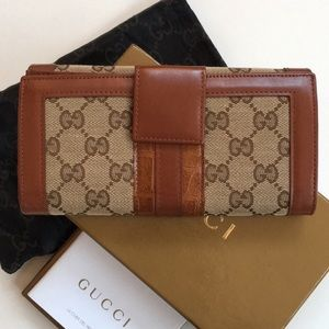 NWT Gucci Monogram Long Leather Wallet Master Nero